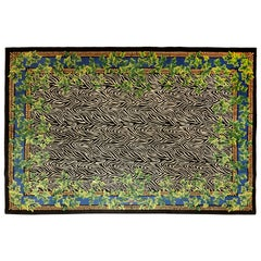 Gianni Versace Collection Rug Wild Ivy, Gold Zebra Animal Print, 1980