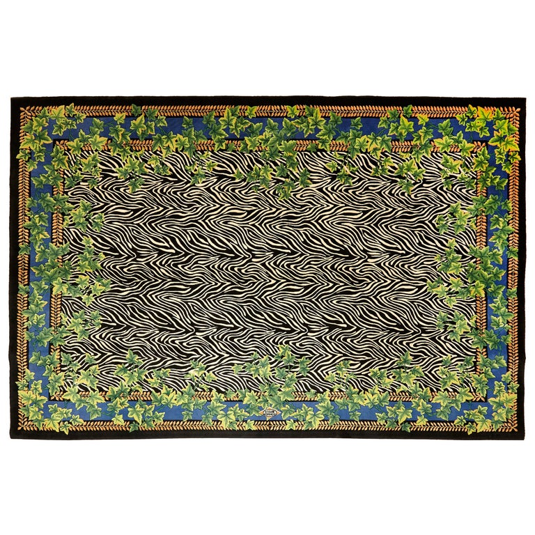 Gianni Versace Collection Rug Wild Ivy, Gold Zebra Animal Print, 1980 For Sale