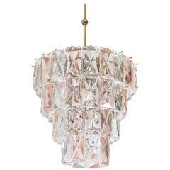 Mid-Century Modern Kinkeldey Rectangular Prysm Pink and Clear Crystal Chandelier