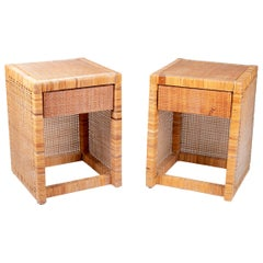 1980s Pair of Spanish Wicker One Drawer Bedside Tables