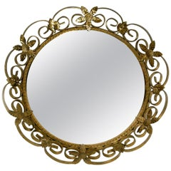 Beautiful Midcentury Brass Wall Mirror with Convex Curved Mirror Glass