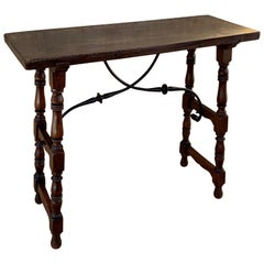 Spanish Console Table with Iron Stretcher and Shaped Legs, Side Table, Baroque
