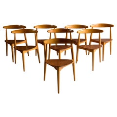 Hans Wegner Dining Chairs Heart Shape Model FH 4103 Fritz Hansen Denmark, 1950s