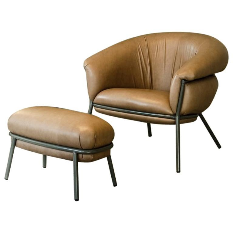 Grasso Armchair and Footstool For Sale