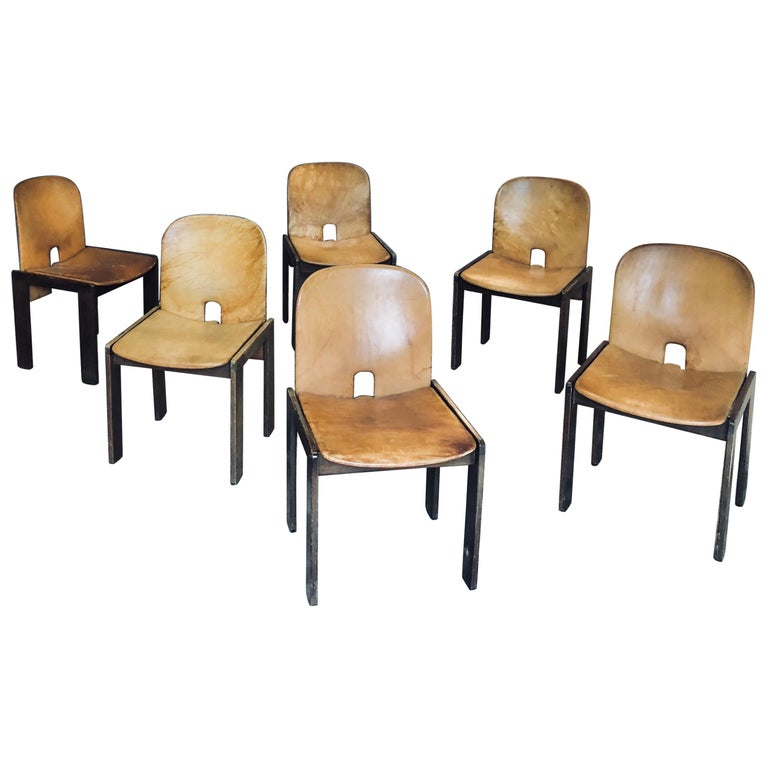 """Set of Six Cognac Leather """"121"""" Chairs, Afra & Tobia Scarpa for Cassina, 1965 For Sale"""