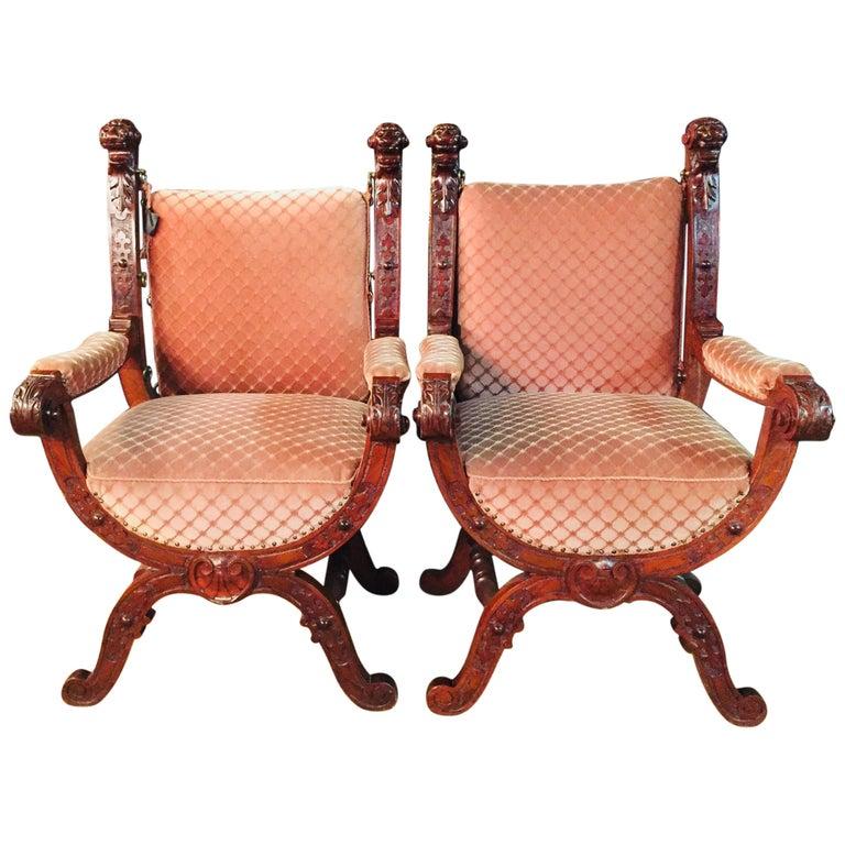 19th Century Armchair Antique Baroque Style Scissor Chair Lion Heads For Sale