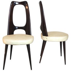 Vittorio Dassi Set of 8 Midcentury Italian Side Chairs, 1950s