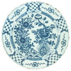 Sign by Ax, Mid-18th Century, Magnificent Faience Delft Round Dish