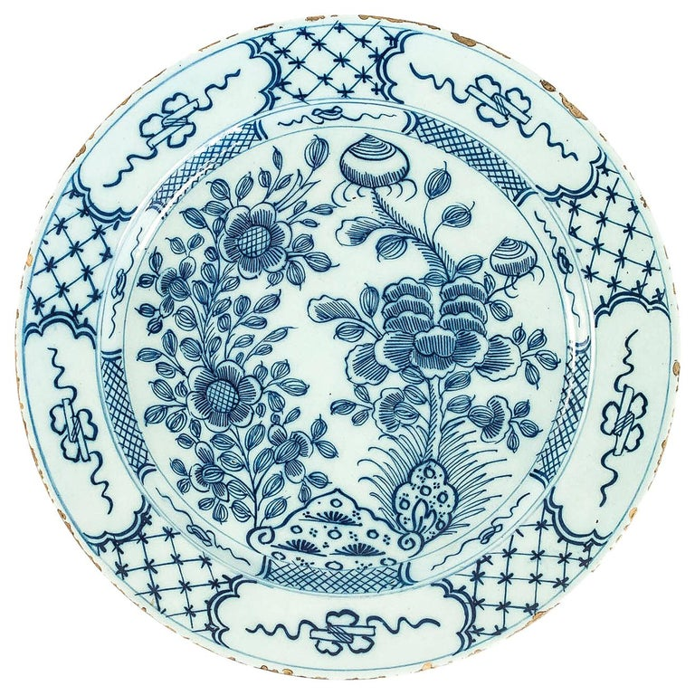 Sign by Ax, Mid-18th Century, Magnificent Faience Delft Round Dish For Sale