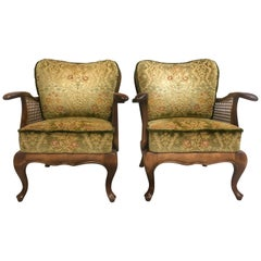 Pair of Cane Wood Midcentury Floral Armchairs, Italy