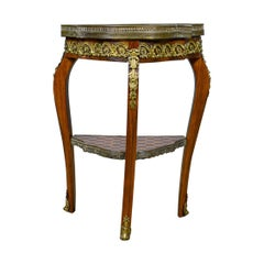 French Antique Side Table, Two-Tier Birch Ormolu Marble Top, circa 1900