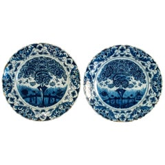 Sign by Claw 490 Brand, Early 18th Century, Pair of Faience Delft Round Dishes