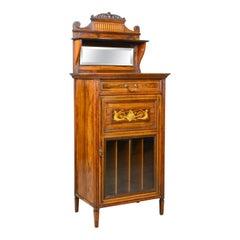 Antique Music Cabinet, Rosewood, English, Victorian, Mirror Back, circa 1880