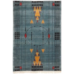 Tibetan Hand Knotted Wool Blue Large Rug, circa 1990