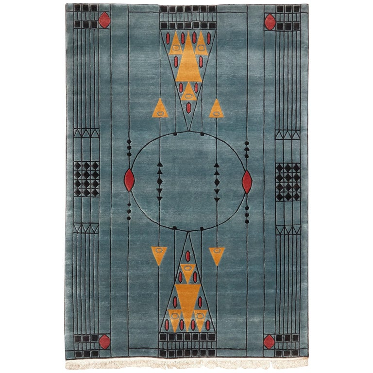 Tibetan Hand Knotted Wool Blue Large Rug, circa 1990 For Sale