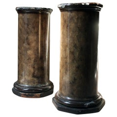 Pair of Decorative Painted Faux Marble Plaster Plinths/Pedestals, circa 1890