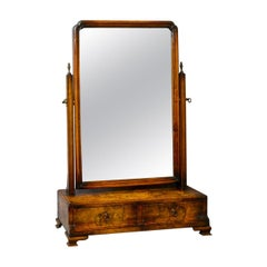 Antique Dressing Table Mirror, Burr Walnut Georgian Revival Vanity, Toilet