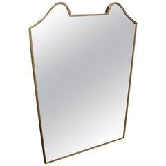 Midcentury Italian Brass Mirror, Fabulous Shape