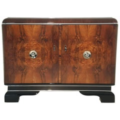 Walnut Commode with Chrome Handles, Second Piece