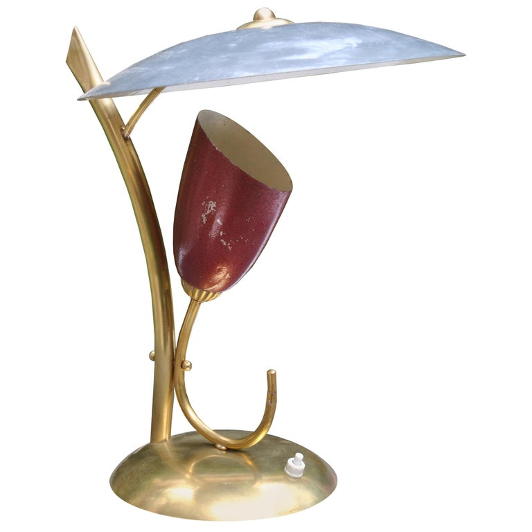 Italian Midcentury Table Lamp after Angelo Lelli for Arredoluce in Brass, 1950s For Sale