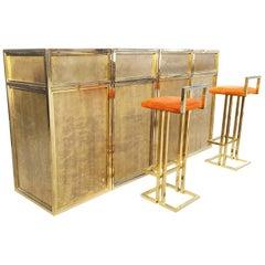 Maison Jansen Brass Modular Bar with Barstools