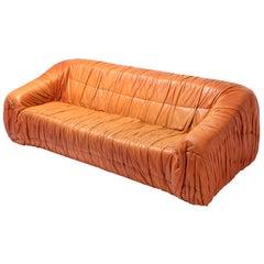Postmodern Cognac Leather 'Piumino' Sofa by De Pas, D'urbino & Lomazzi