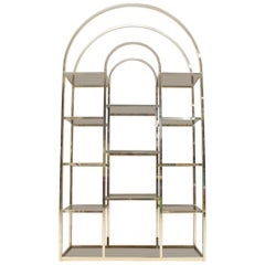 Golden Hollywood Regency Shelf with Smoked Glass Maison Charles Attributed