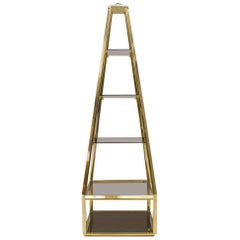 Hollywood Regency Pyramid Shelf in Gold and Smoked Glass, France 1960s
