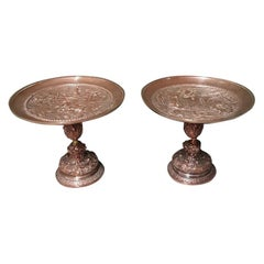 Pair of Late 19th Century Copper-Plated Pewter Tazzas