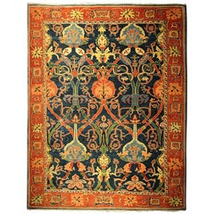 Antique Azeri Arts & Crafts Turkey Hand Knotted Large Rug, 1980