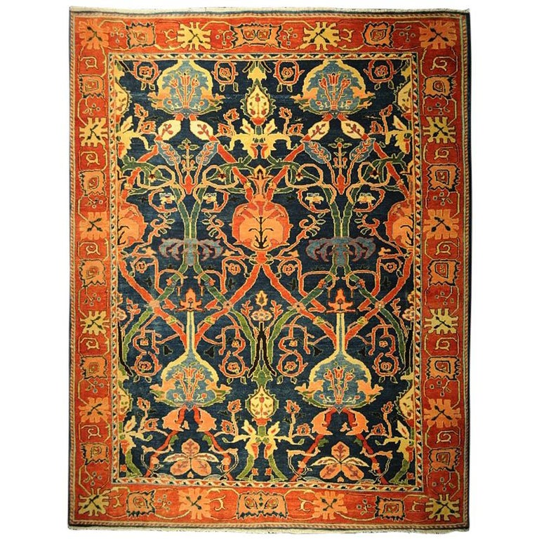 Antique Azeri Arts & Crafts Turkey Hand Knotted Large Rug, 1980 For Sale