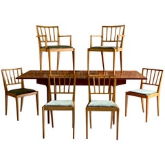 Midcentury BCM 'Bath Cabinet Makers' Teak Extending Dining Table and Six Chairs