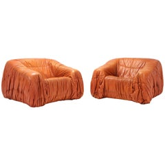 Cognac Leather Postmodern Lounge Chairs by De Pas, D'urbino & Lomazzi