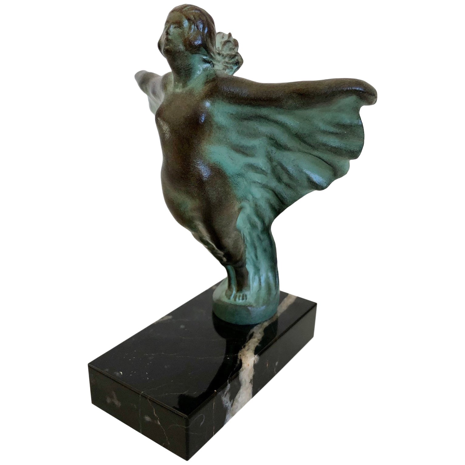 Art Deco Radiator Mascot EOLA Spelter and Marble by MIC Original Max Le Verrier