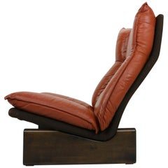 Cognac Leather and Wood Lounge Chair, Dutch Modern Design, 1970s