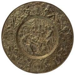 Big Copper Gilded Plate, Italian Manufacture, 18th Century