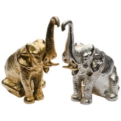 Sterling Silver Salt and Pepper Shakers in Elephant Shape