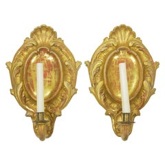 Pair of Rococo Candlestick Wall Sconces in Carved Giltwood