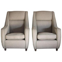Pair of 1950s Italian Upholstered Armchairs