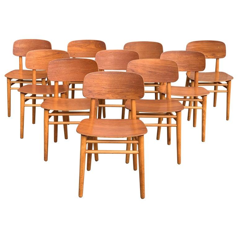 Hans Wegner Teak Dining Chairs Set of Ten for Fritz Hansen 4101, Denmark For Sale