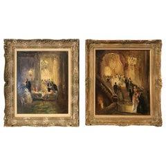 Romantic Elegant Impressionist Pair of Ballroom Interiors on Canvas