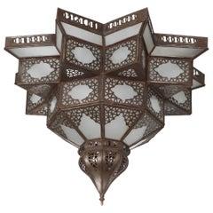 Moroccan Moorish Star Shape Frosted Glass Lantern Light Shade