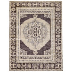 Brown and Ivory Contemporary Handmade Wool Turkish Oushak Rug Large Size