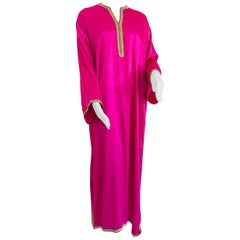 Moroccan Hot Pink Kaftan Maxi Dress Caftan Size Large