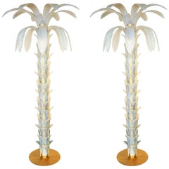 Barovier Mid-Century Modern Opaline Palm Two Murano Glass Floor Lamps, 1990s