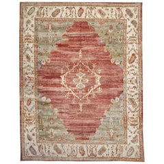 Green and Red Contemporary Handmade Wool Turkish Oushak Rug Large Size