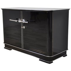 Small Art Deco Style Commode in High Gloss Black