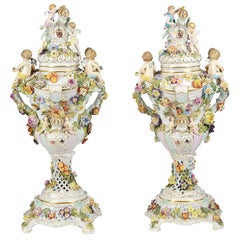 Large Pair Dresden Style Lidded Comports, Late 19th Century
