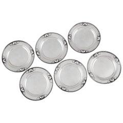 Set of Six Georg Jensen Butter Plates 428A