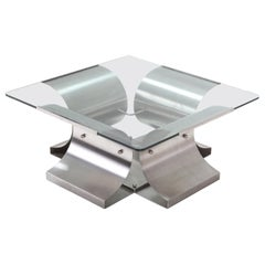 Mid-Century Modern Brushed Steel Coffee Table in the Style of Oscar Niemayer